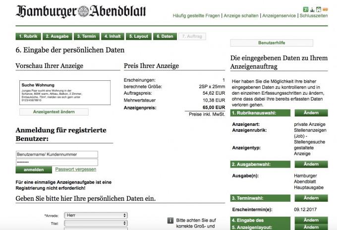 Hamburger abendblatt kleinanzeigen er sucht sie