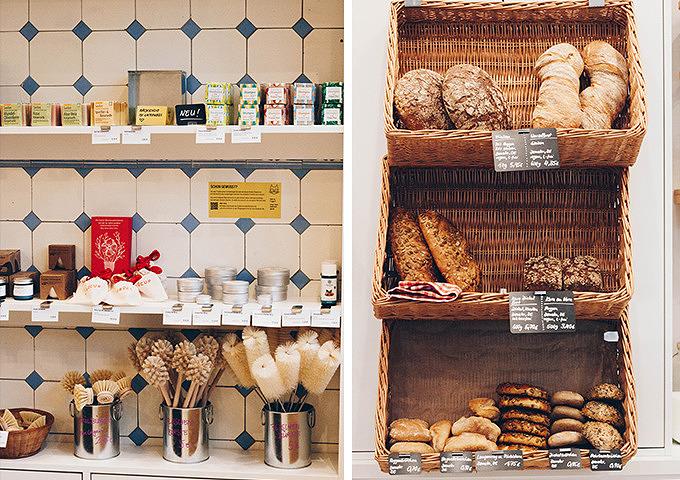 Brot und Badutensilien im Monger unverpackt Laden in Eimsbüttel.